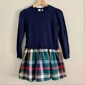 GAP sweater dress plaid and navy size large (10)